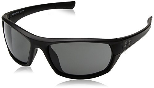 Herren Ua Powerbrake Satin Black Frame / Graue Linse Rechteckige Sonnenbrille, Schwarz / Grau, 61 mm