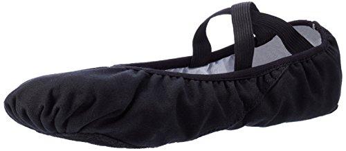 Weicher Ballettschläppchen Tanz geteilte Ledersohle Schuhe Gymnastik Tanzen Hausschuhe für Mädchen Frauen Damen (Schwarz, EU 36.5=235mm=9 1/4 inch=UK 5)