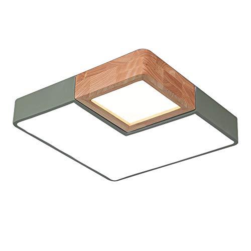 Holz-quadrat-lampe (Wandun Deckenleuchte, Nordic LED Deckenleuchte Macarons Deckenleuchte Moderne minimalistische Holz Studie Esszimmer Lampe Quadrat LED-Leuchten Fernbedienung Schlafzimmer Lampe)