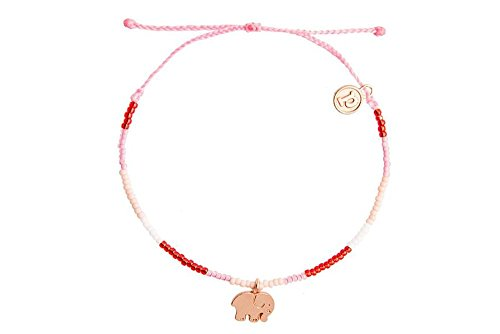 Pura Vida x Ivory Ella 3D Bitty Elephant Charity Bracelet - Gold-Plated Charm, Adjustable Band - 100% Waterproof (Schultergurt Features Verstellbarer)