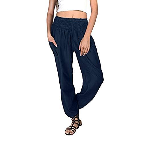 SANFASHION Pantalons de Yoga Femme, Spandex Doux Modal Pantalon Harem Yoga Pilates Pants Lanterne Pantalon Sarouel Aladin Jogging Marine Unie, 4XL