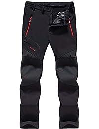 UDFGVDH Pantalones de Invierno al Aire Libre Pantalones Cortavientos Cáscara Suave Impermeable Lana de Secado rápido Línea Senderismo Camping