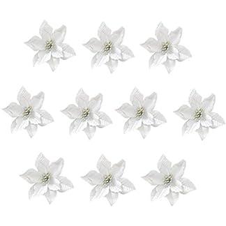 TOYANDONA 24 Piezas de Flores Artificiales de Navidad Adornos de árbol de Navidad de Flor de Pascua de Plata (13 cm)