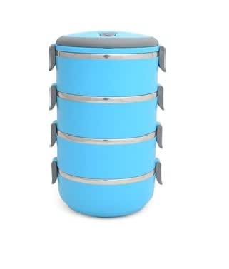 Urban Living 4 Layer Stainless Steel Blue Lunchbox(15X15X27 Cm,Blue)