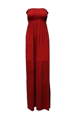 Womens Plus Size Sheering Boobtube Bandeau Long Jersey Strapless Maxi Dress 8 26 Wein