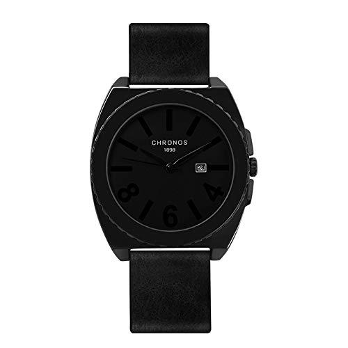Angdu orologi da uomo cronografo impermeabile moda casual multifunzione semplice nero blu rosso orologio da polso in pelle per gli uomini (color : nero)