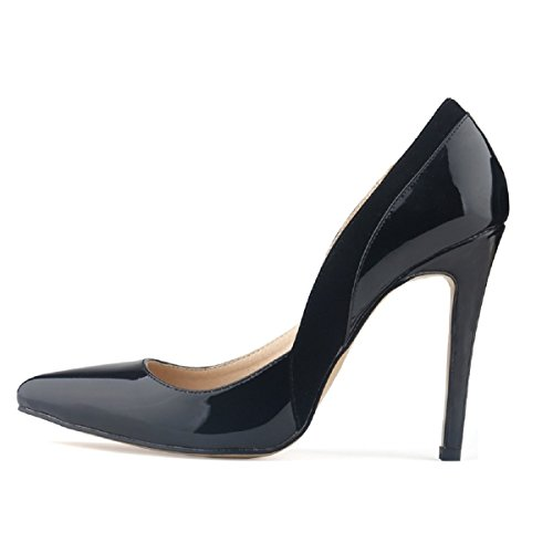 HooH Femmes Daim Splicing Pointu Stiletto Escarpins Noir