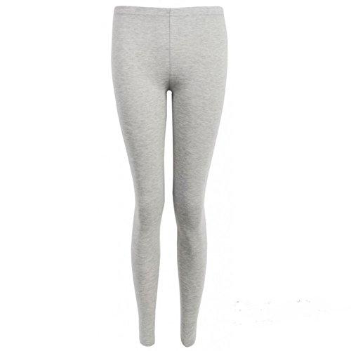 Femmes Neuf Extensible Uni Mesdames Complets Long Longueur Skinny Taille Élastique Pantalon Legging Gris - Gris clair
