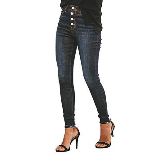 Vectry Jeans Damen Slim Fit Skinny Fit Jeans Jogger Push Up Ankle Straight Leg Mit LöChern Stretch Denim Relaxed Hose Aufnäher Hosen, Knopf Elastisch Bleistifthosen Jeanshosen(Schwarz,5XL) -