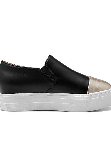 ZQ gyht Scarpe Donna - Mocassini - Tempo libero / Formale / Casual - Creepers / Punta arrotondata - Plateau - Finta pelle - Nero / Bianco , white-us8 / eu39 / uk6 / cn39 , white-us8 / eu39 / uk6 / cn3 white-us5.5 / eu36 / uk3.5 / cn35