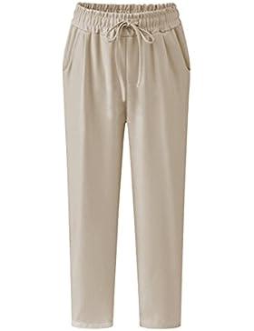 Pantalones De Lino Para Mujer Talla Grande Pantalones Cintura Elástica Pantalon De Fiesta
