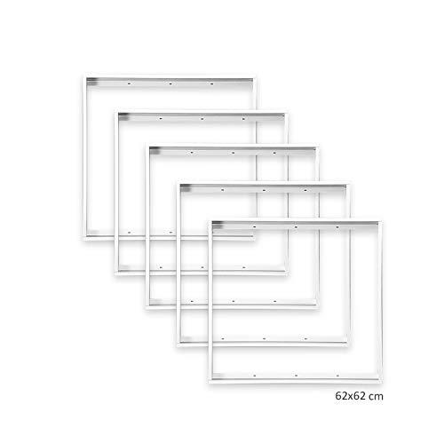 5x Xtend Aluminium Aufbaurahmen für LED Panel 620x620mm 62x62cm, Aluminium Farbe weiß zur Aufputz-Montage