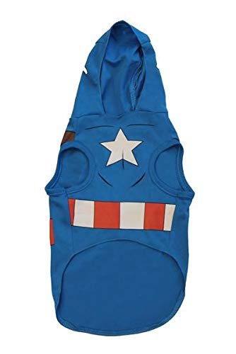 Marvel Black Panther Kostüm für Hunde, Größe L, Best Avengers Infinity War Halloween Kostüm für Hunde, Captain America, X-Small