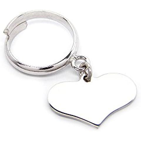 Anello con ciondolo cuore pendente personalizzabile in argento 925 rodiato