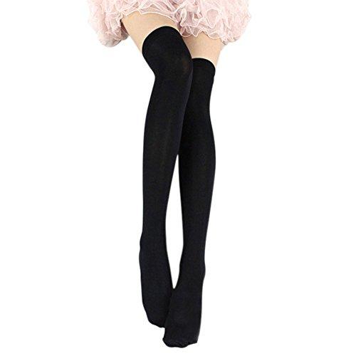 Esbelle Damen halterlose Strümpfe über Knie-Lang Kniestrümpfe Socke Frauen Strumpfhose Bunt (Schwarz)