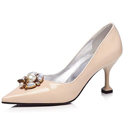 ZPFME Womens Sexy High Heels Arbeit Spitz Pump Kitten Ferse Slip on Dancing Court Schuhe Pearl,Beige-EU36/230 T-strap Dorsay Pump