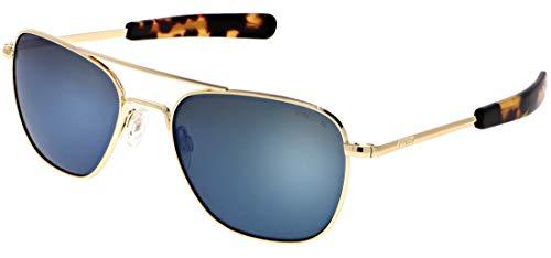 Randolph Aviator Sonnenbrille, (23k Gold E.p. / Bayonet/Skytec-p Cobalt), Large