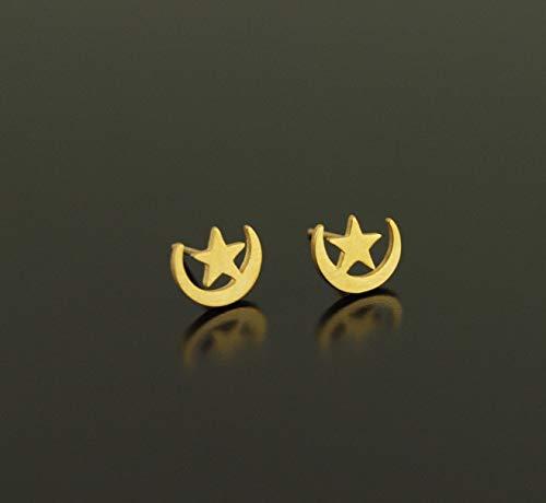 Edelstahl Ohrstecker Stern Mond Sichel Stecker golden Ohrringe