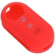 VORCOOL Funda de Llave de Coche de 3 Botones de Silicona Accesorio de Llave de FIAT 500 (rojo)