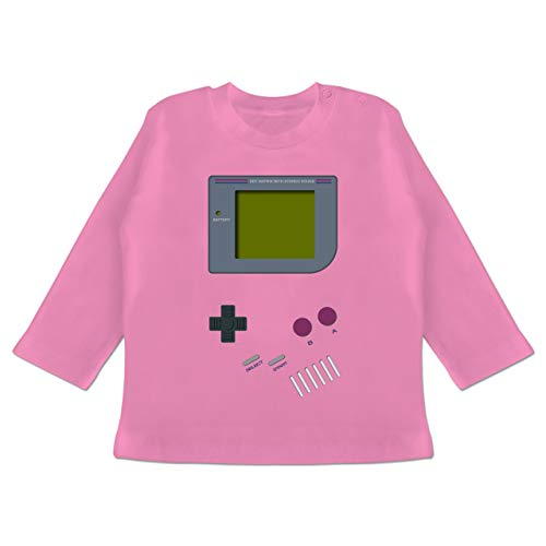 Strampler Motive - Gameboy - 6-12 Monate - Pink - BZ11 - Baby T-Shirt Langarm