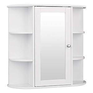 eSituro SBP0030 Spiegelschrank Badspiegel Hängeschrank mit Türen Wandschrank Badschrank Weiß BHT ca: 60x58x16cm