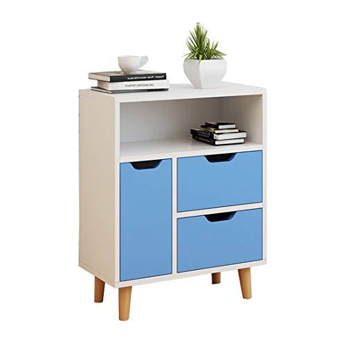Modern Holz Nachttisch Einfach Nachttisch Schlafzimmer Wohnzimmer Lagerung Möbel, Massivholztisch Füße,Blue