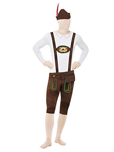 Morphsuit Kostüm Lustig - Smiffys, Herren Second Skin Bayer Kostüm, Ganzkörperanzug, Bauchtasche und Hut, Größe: L, 43924