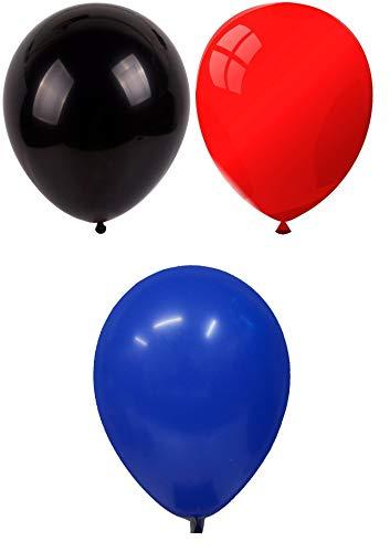INERRA Globos - Pack of 75 Mezclado (25 X Negro & 25 X Rojo & 25 X Azul Turquí) Látex 10' For Helio o Aire