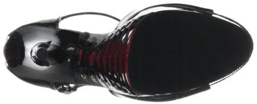 Pleaser  Delight-660Fh, Semelle compensée et talons femme Noir (Noir/rouge)