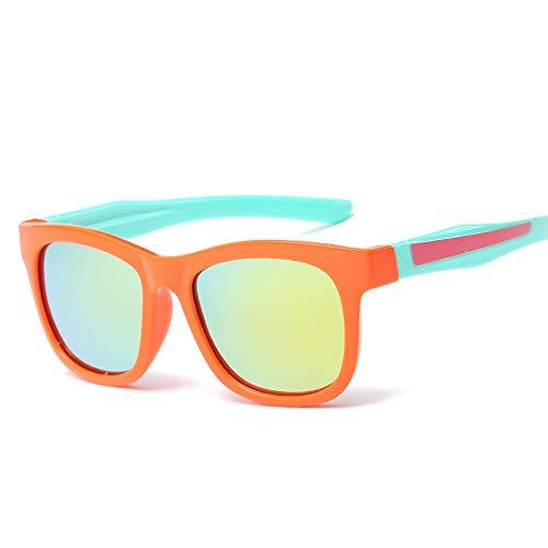Kinder Flexible Gummi Polarisierte Linsen Für Kinder Kleinkinder Jungen Und Mädchen Farbfilm Mode Sonnenbrillen Für Brille (Color : Orange, Size : Kostenlos)