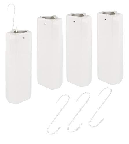 Lantelme 4 Stück Keramik Heizungsverdunster Set Rippen Röhren Heizkörper Wasserverdunster Luftbefeuchter weiß Haken 7623