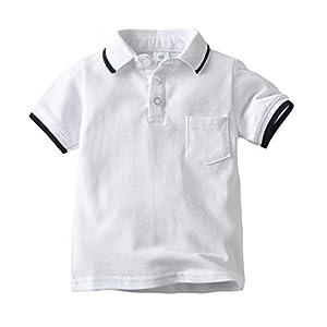Camiseta Infantil de Color Liso Solapa Infantil Camiseta de Manga Corta Polo Infantil 15
