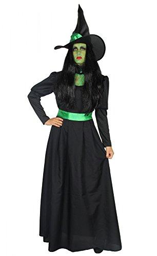 Foxxeo 40286 I Deluxe Costume da Strega Verde Lungo Nobile Nero con Cappello Donna Strega...
