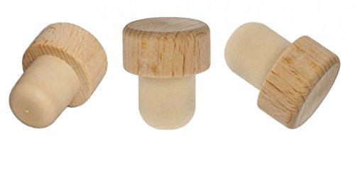 5x Holzgriff Korken Echtholz für alle gängigen Flaschen Sehr robust! 19 mm (Holz-essig)