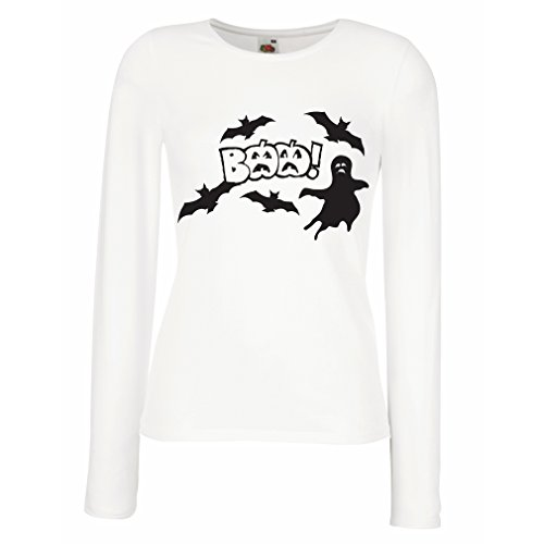 Maniche Lunghe Femminili T-Shirt BAAA! - Funny Halloween Costume Ideas, Cool Party Outfits (Large Bianco