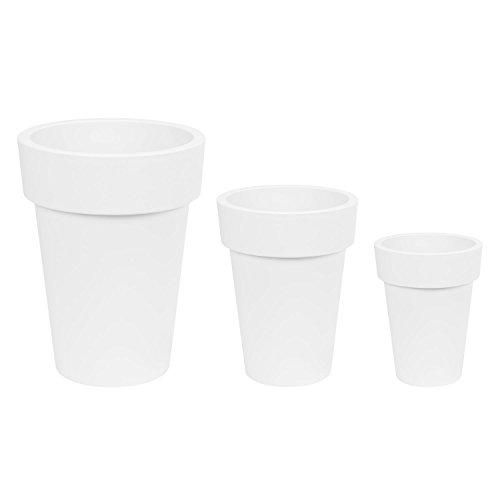 Lot de 3 pot de fleur Lofly Slim 9.3 L + 16.4 L + 38.2 L, en blanc
