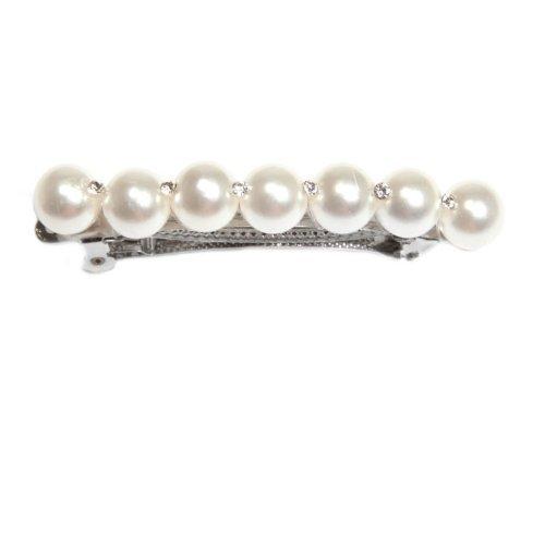 Sg Paris Accessoires Cheveux Barrette Métal argenté Perle en verre Blanc Cérémonie