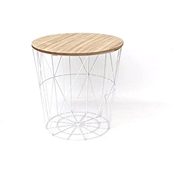 ab89aaa29ecc Modern White Metal & Wood Occasional Storage Table - Lift Off Top