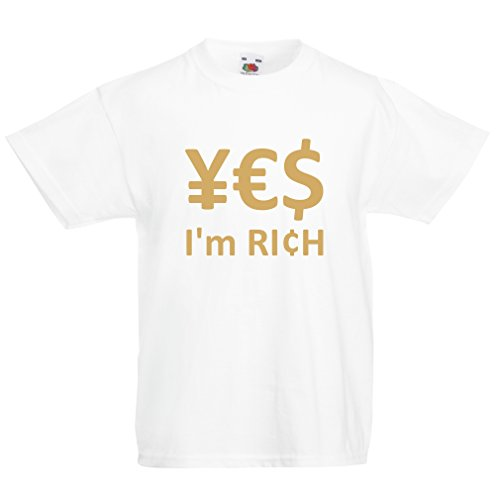 lepni.me Kinder T-Shirt Yes, I'm Rich! (9-11 years Weiß Gold) (Gold Rich Schuhe)