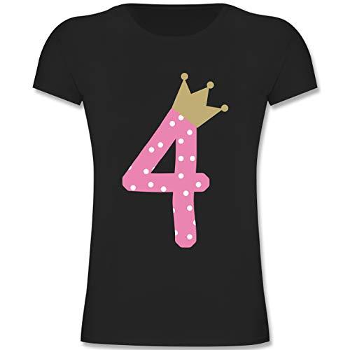 Geburtstag Kind - 4. Geburtstag Krone Mädchen - 104 (3-4 Jahre) - Schwarz - F131K - Mädchen Kinder T-Shirt -
