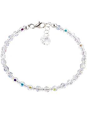 Schöner-SD, Feines Armband aus 4mm Swarovski® Kristallperlen und 925 Silber