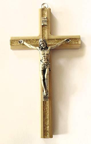 Christshop Wandkreuz - Kruzifix - 20 cm - mit goldfarbenem Inlay