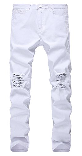 LILBETTER Männer Slim Fit Stretch Destroyed Jeanshose Denim Jeans Hose Weiß