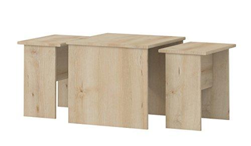 Kinderzimmer - Tisch Benjamin 09, 3-teilig, Farbe: Buche -