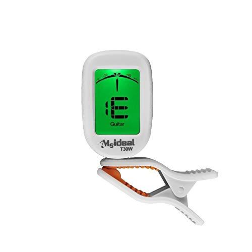 Premium Meideal Clip on Chromatic Tuner für Guitar BASS Ukulele Violin Banjo weiß (Gitarre Key Wind)