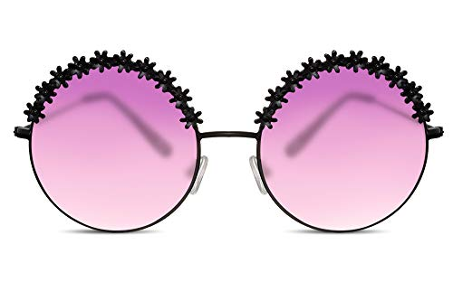 f05a26103a Cheapass Gafas de Sol Redondas Negras Oversized XXL Purple Gradient  Translúcidas Glasses Flower Power Festival Accessory