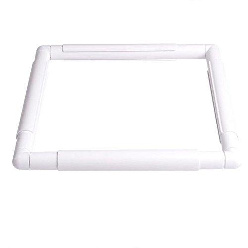 5Stickerei-Clip-Rahmen, quadratischer Rahmen, Stickrahmen, Kreuzstich, für Stickereien, Quilten, Nadelspitze, Seidenmalerei, 5 Größen, plastik, weiß, 27.9 * 27.9 cm