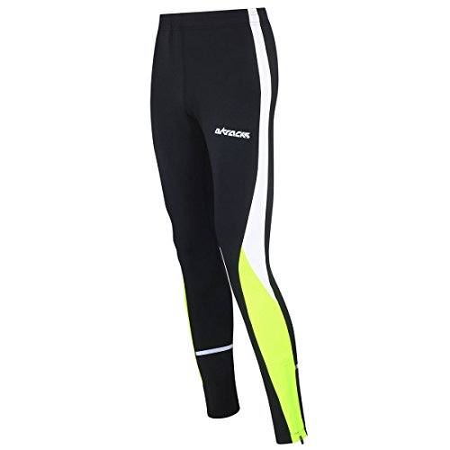 Airtracks Winter Funktions Laufhose Lang/Damen oder Herren/Thermo Running Tight/Atmungsaktiv/Reflektoren - schwarz - neon - L - Damen
