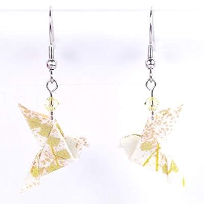 Boucles d'oreilles colombes origami blanches et dorées en papier japonais - crochet inox