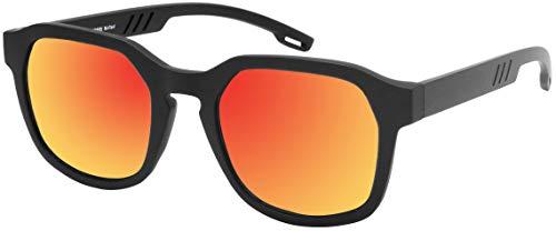 La Optica B.L.M. UV 400 CAT 3 Unisex Damen Herren Sonnenbrille Eckig Fashion - Einzelpack Matt Schwarz (Gläser: Rot verspiegelt) Rote Gläser
